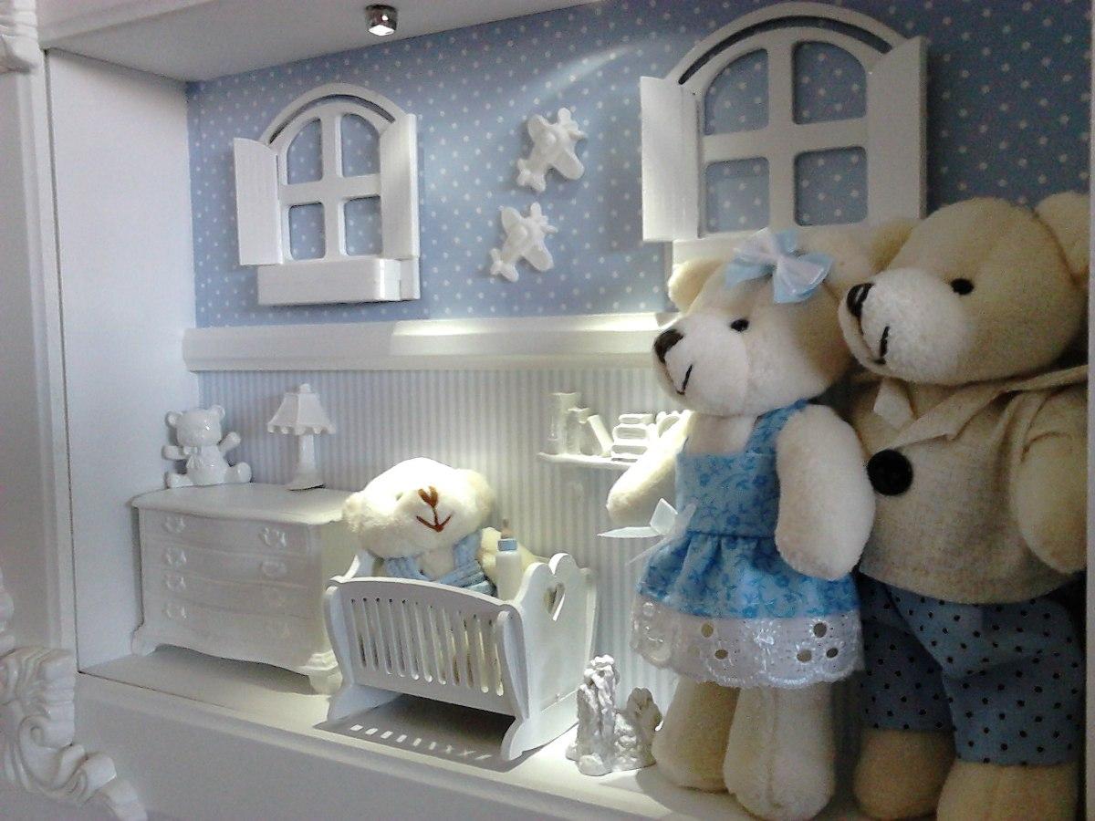 Enfeite quadro porta maternidade com led familia azul r - Quadro porta calamite ...