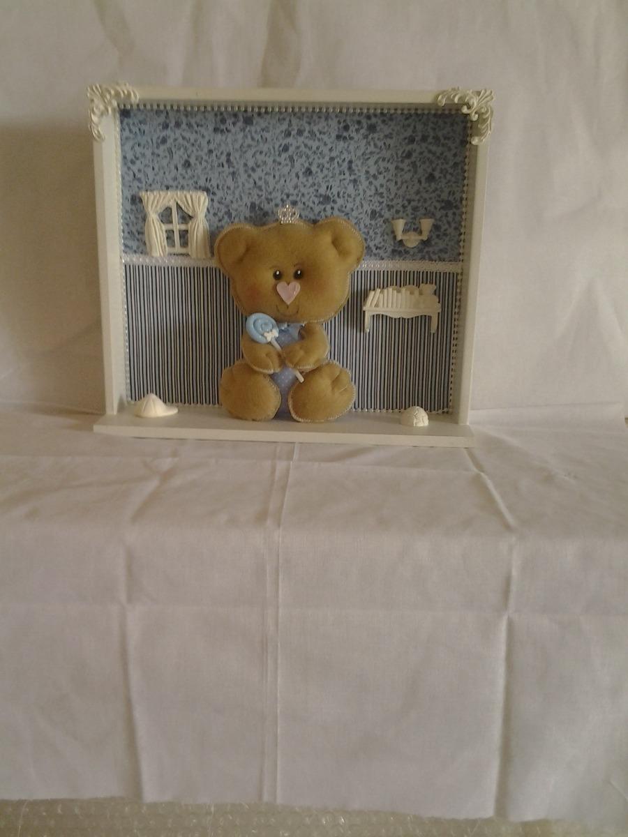 Enfeite Quadro Porta Maternidade Decora O Quarto Bebe Urso R  ~ Enfeite De Quarto De Bebe Em Feltro