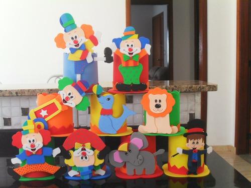 enfeites eva circo / palhaço kit com 14 centro de mesa