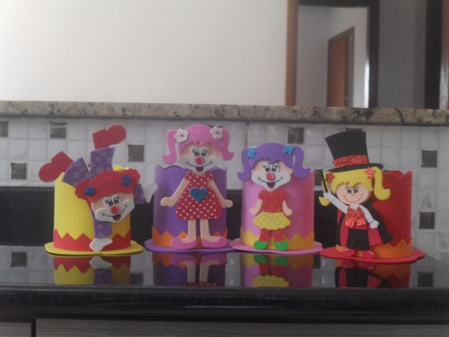 enfeites eva circo / palhaço kit com 36 centro de mesa