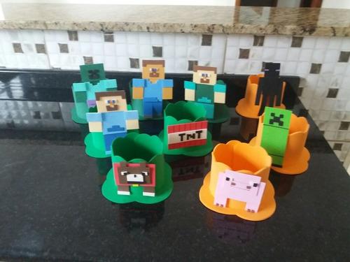 enfeites eva minecraft com 10 centro de mesa