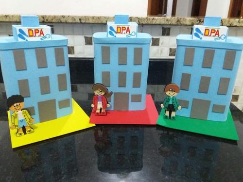 enfeites eva prédio  dpa  kit com 12 centro de mesa