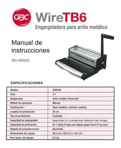 engargoladora arillo metálico y espiral gbc wire tb6 *nueva*