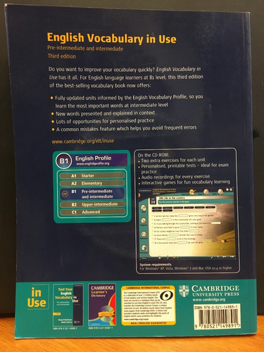 english voc in use pre int and int w/ key & cd rom cambridge