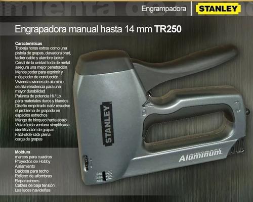 engrampadora grapadora clavadora stanley tr250 + guantes