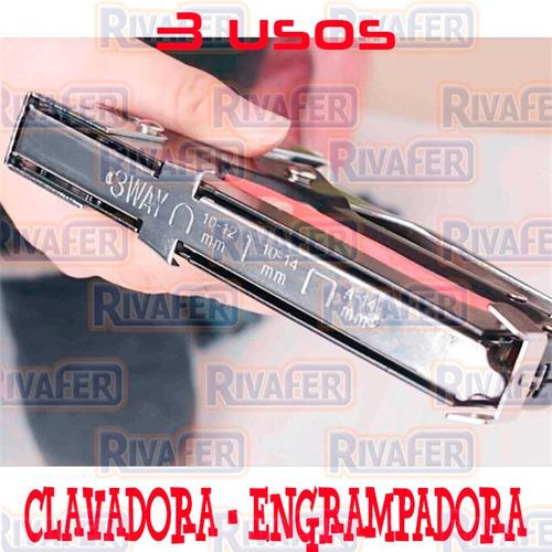 engrampadora metalica clavadora con valija + caja clavo 10mm