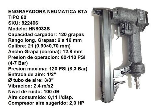 engrampadora neumatica bta 80 tapiceria + grampas verashop