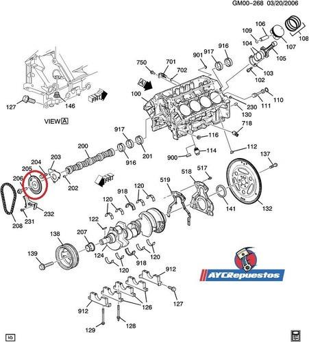 engranaje leva motor 5.3 original (silverado, tahoe, aval.)