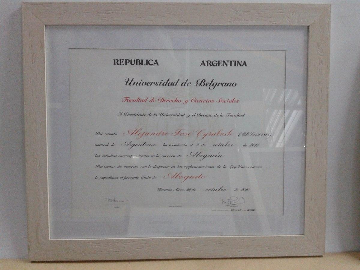 Enmarcado De Diplomas Con Paspartout - $ 850,00 en Mercado Libre