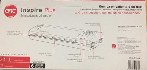enmicadora / laminadora inspire plus gbc + 95 micas 23cm/9