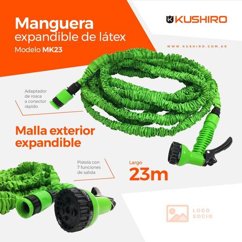 enrollador c/ruedas kushiro + manguera riego expandible 23m