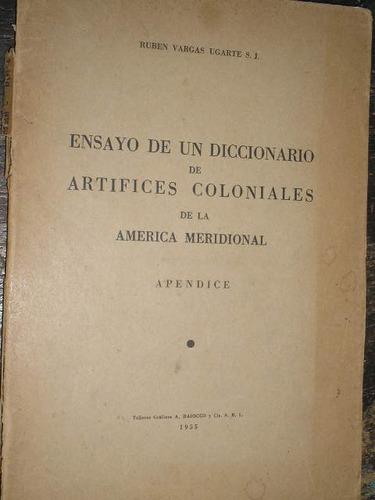 ensayo de un diccionario de artifices coloniales de la ameri