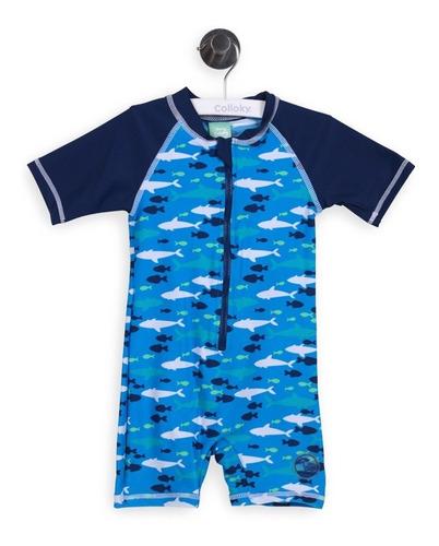 enterito bebe playa tiburones azul talla 3 a 6 meses colloky