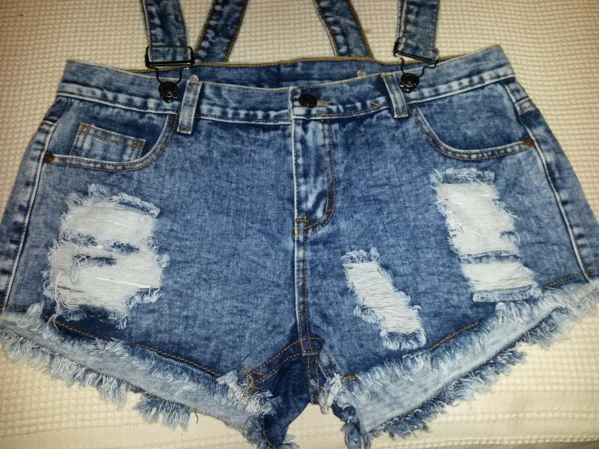 88cf42fcd0 enterito jeans corto con tiradores desmontables. Cargando zoom.