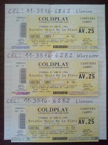 entrada coldplay campo viernes 01/04 (3 disponibles)
