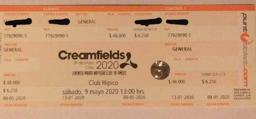 entrada creamfields chile 2020