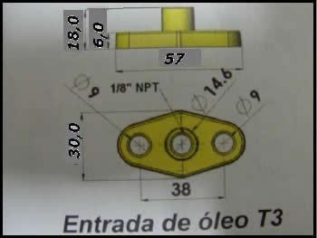 entrada de óleo turbina t3 c/ junta