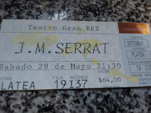 entrada joan manuel serrat - teatro gran rex junio de 1999