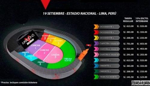 entrada maroon 5  cancha 2 estadio nacional