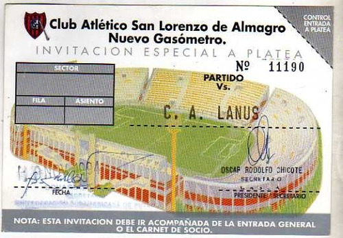 entrada partido copa conmebol año 1994 san lorenzo vs lanus