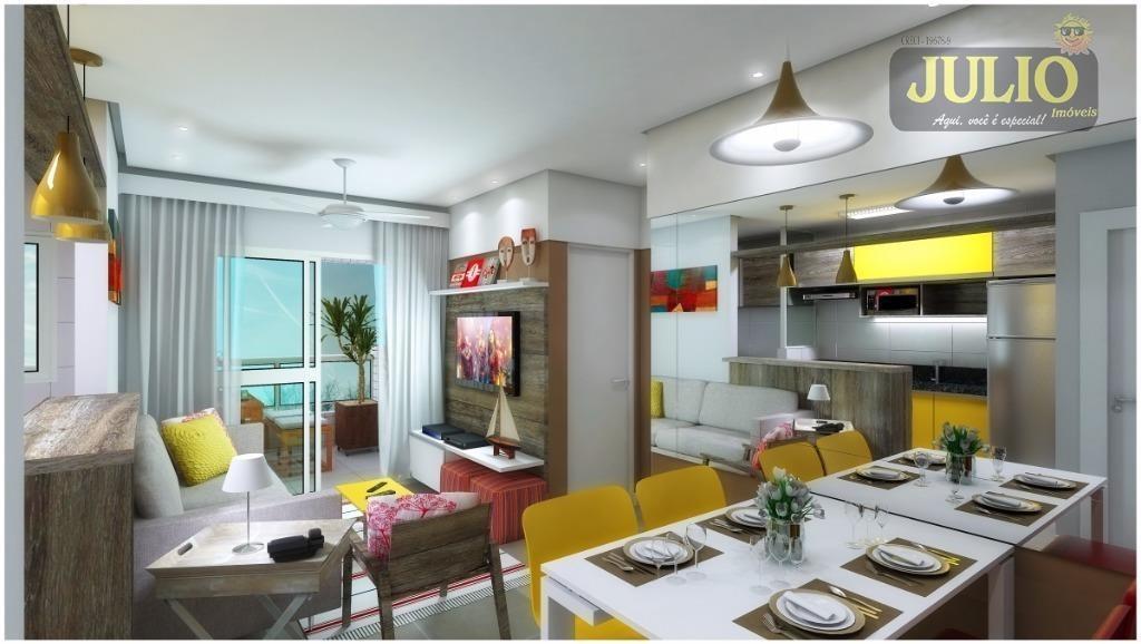 entrada r$ 44 mil + saldo super facilitado! apartamento com 2 dormitórios, 63 m² por r$ 220.000 - centro - mongaguá/sp - ap1011