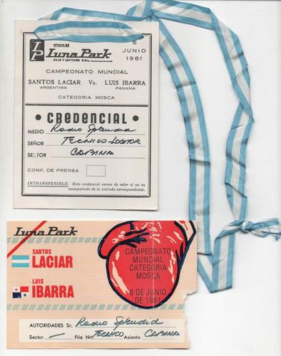 entrada ticket boxeo luna park / laciar vs ibarra / 1981