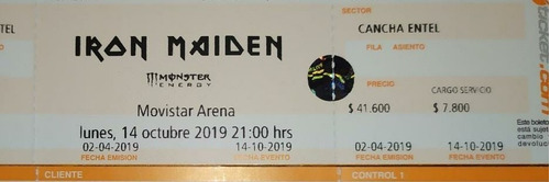 entradas iron maiden  cancha movistar arena