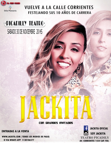 entradas jackita- teatro picadilly - platea alta - fila 1