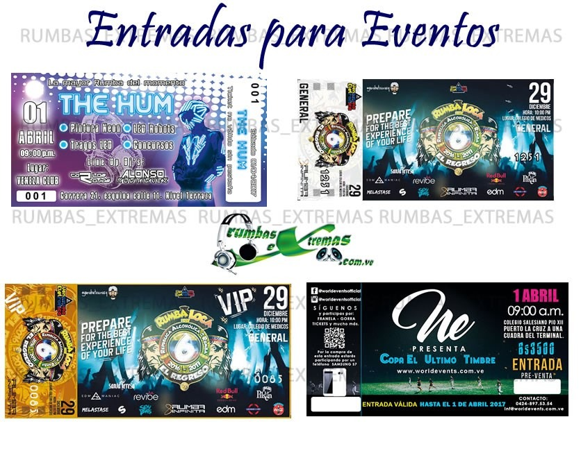 entradas para eventos conciertos personalizadas full color bs