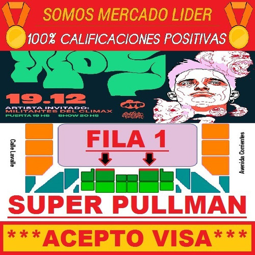 entradas wos luna park 19/12 super pullman fila 1 central !