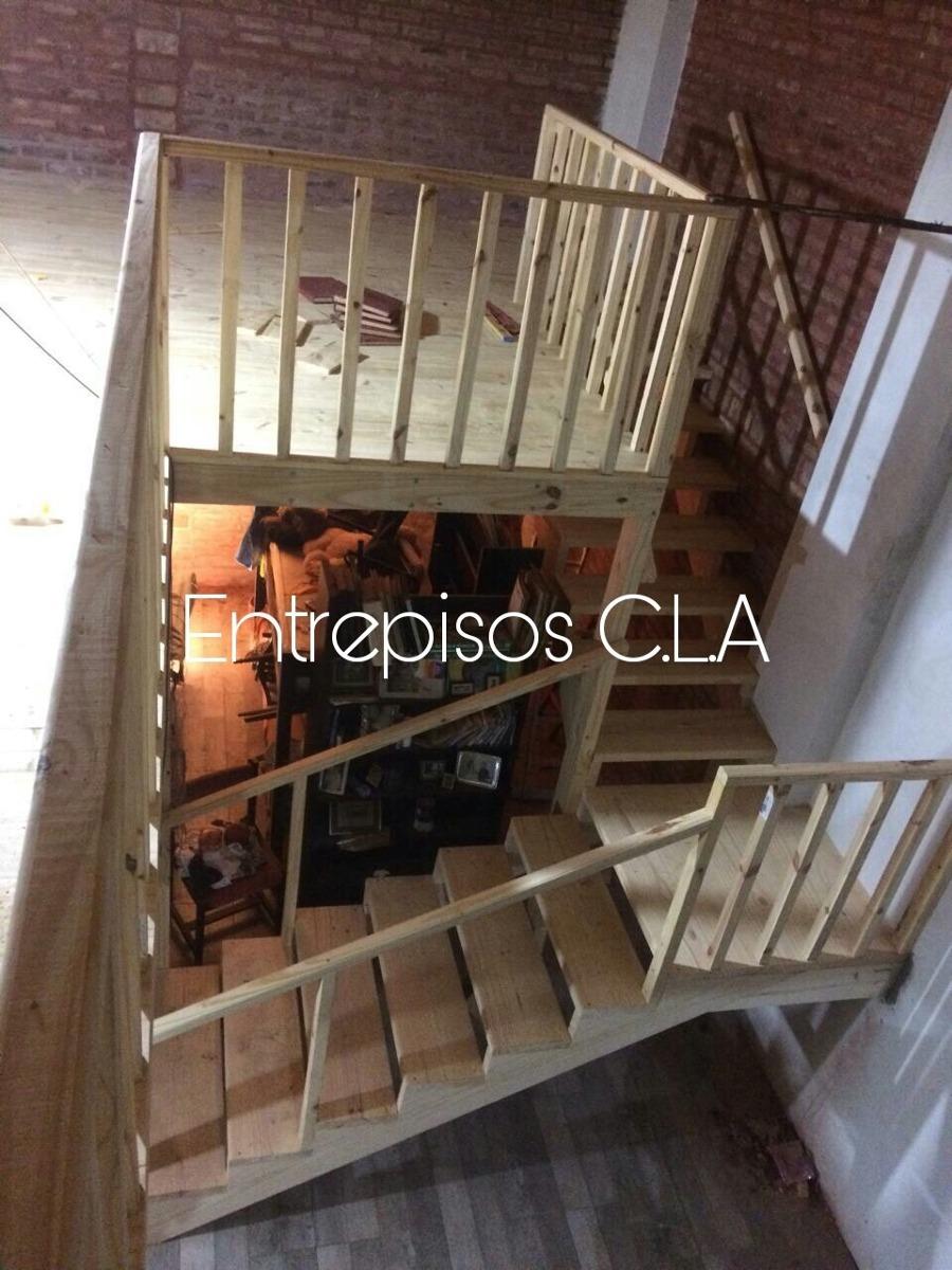 Entrepisos de madera escaleras altillos barandas for Escalera de madera para entrepiso
