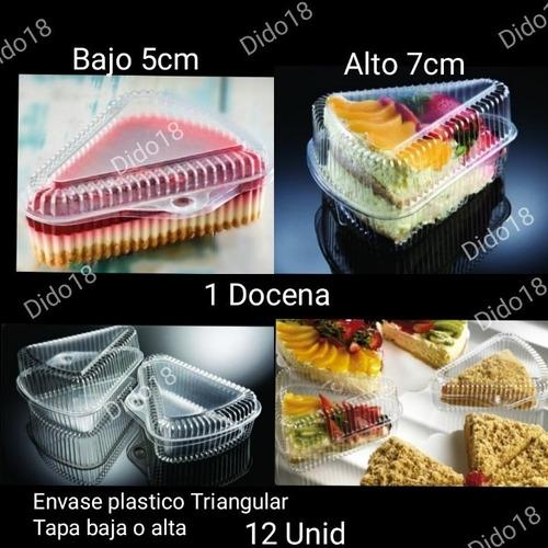 envases plastico triangular tapa baja (12 unid ) reposteria