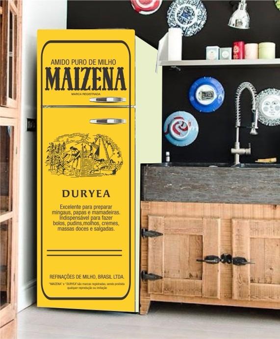 Armario Planejado Para Cozinha Pequena ~ Envelopamento De Geladeira Adesivo Maizena Vintage Retro Kit R$ 89,00 em Mercado Livre