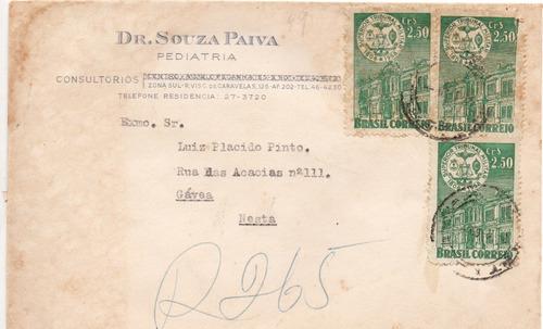 envelope 1960 pediatra souza paiva para luiz plácido pinto