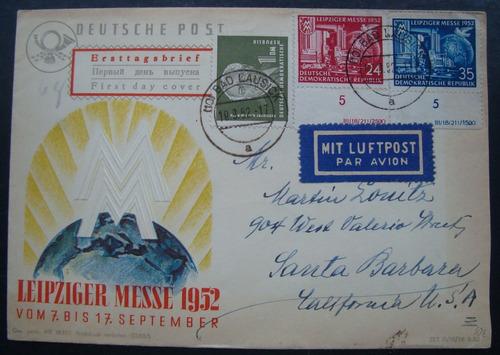 envelope alemanha 3 selos ano 1952, ddr circulado industria