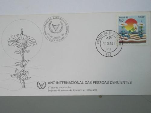 envelope - ano internacional das pesoas deficientes - 1981