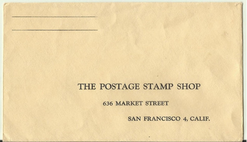 envelope antigo the postage stam shop - san francisco