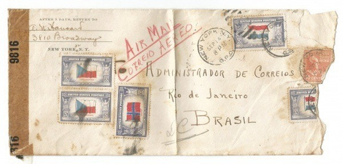 envelope circulado ee.uu - brasil (1943) aberto pela censura