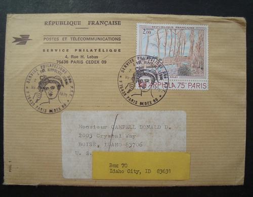envelope frança 1975 serviçe philatelique com selo