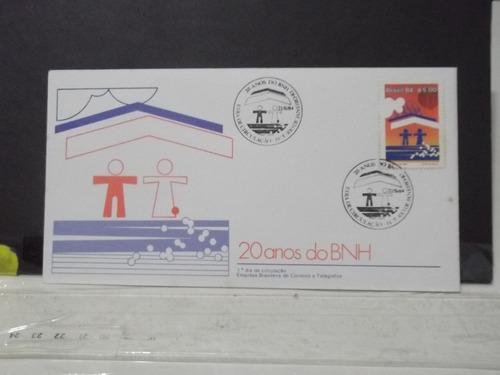 envelope - selo 20 anos do bnh - fdc - 2 carimbos 1984