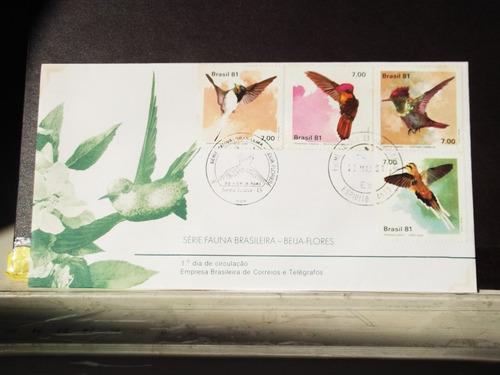envelope série fauna brasileira - beija flores fdc
