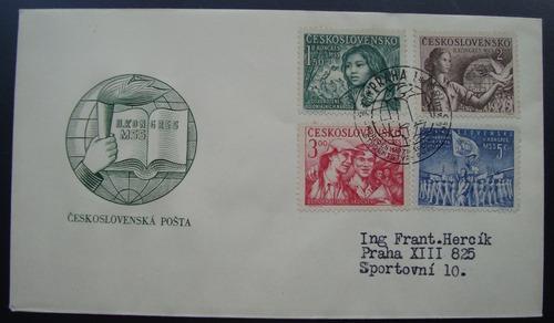 envelope tchecoslováquia, 4 selos 1950 ceskoslovensko novo