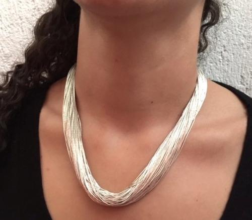 envío gratis collar herminia plata líquida .925 de 100 hilos