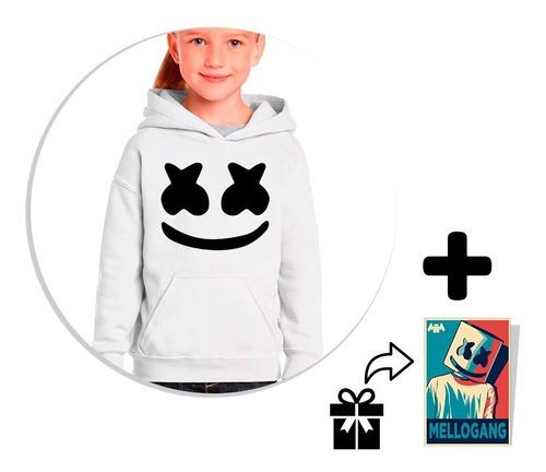 envío gratis sudadera blanca marshmello para niño + sticker