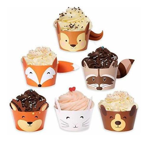 envoltorios de cupcakes de baby shower de bosque - conjunto