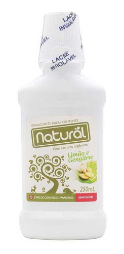 enxaguante bucal natural contente limão e gengibre 250ml