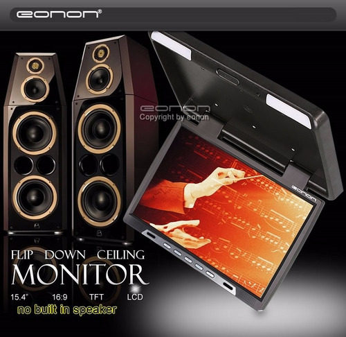eonon pantalla digital monitor flip down 15.4 pulg. - black