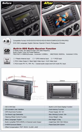 eonon - radio ford focus / fiesta - 6.2 pulg. 2 din - gps