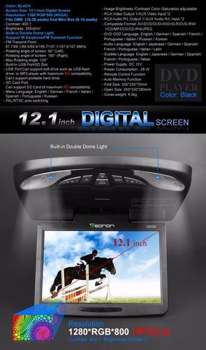 eonon reproductor dvd multimedia flip down 12.1 pulg - negro