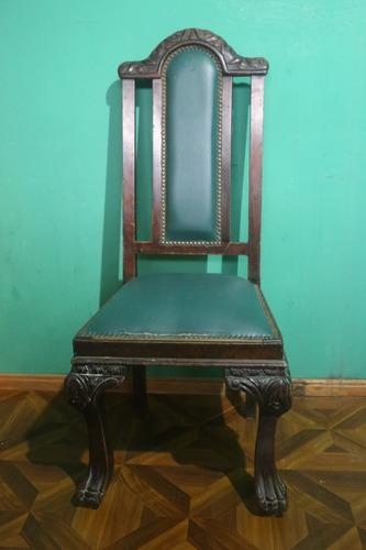 Ep silla antigua estilo reina ana tapiz y tallado for Sillas montevideo